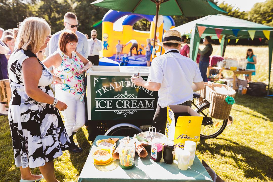 ice-cream-bike-jen-and-mat's-festival-wedding-at-Scraptoft farm