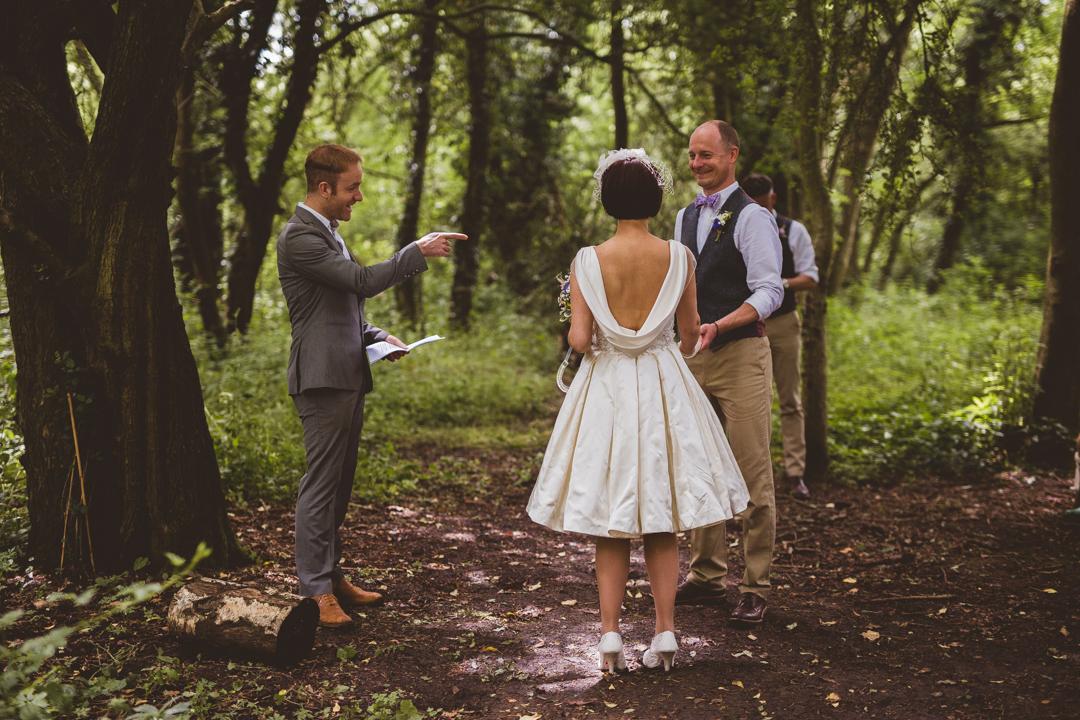 woodland-ceremony-jen-and-mat's-festival-wedding-Scraptoft farm