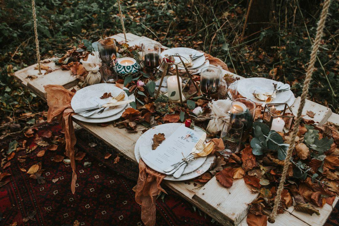 autumn winter woodland styled wedding shoot in Norfolk