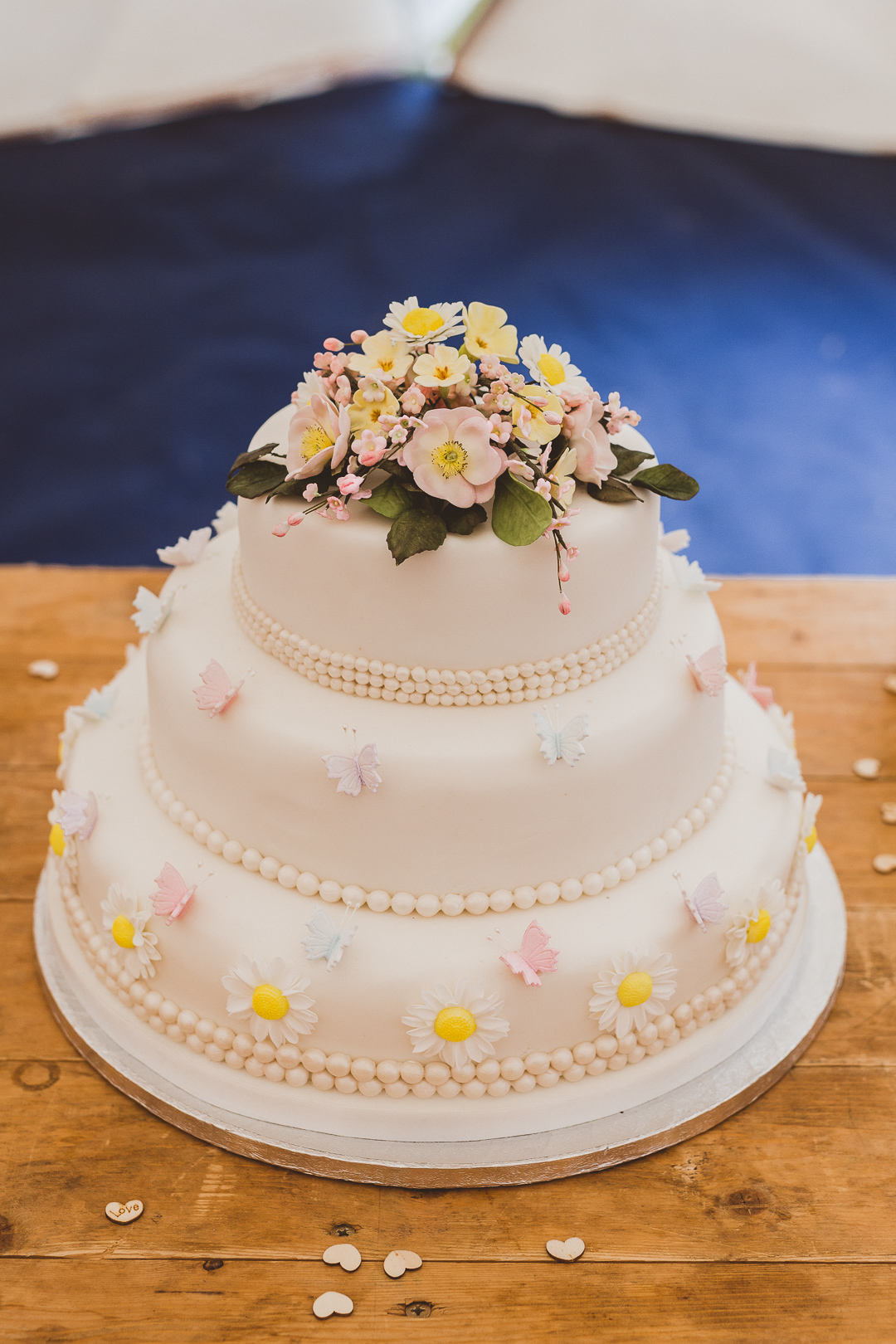 tiered-wedding-cake-jen-and-mat's-festival-wedding-at-Scraptoft farm