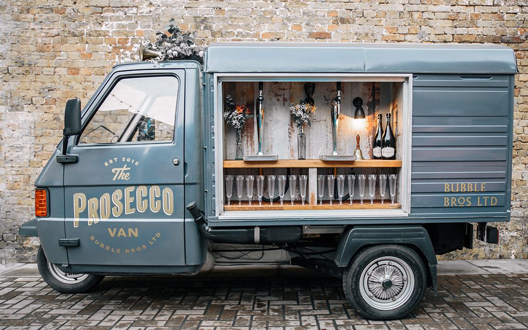 Bubble Bros Prosecco Van and Motorbike Bar Hire for Weddings