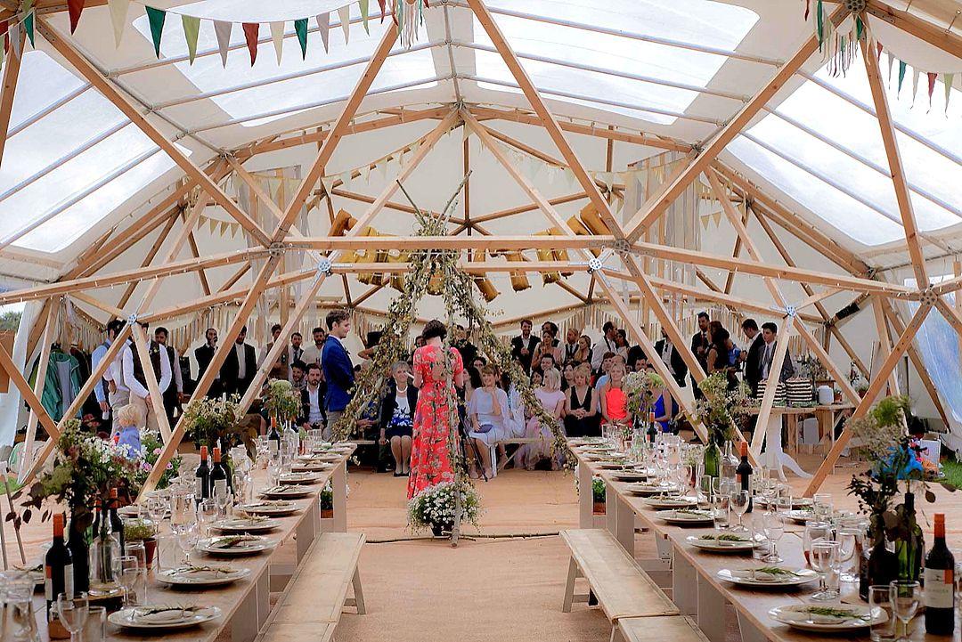 Ceremony-inside-BAYA-unique-natural-timber-wedding-domes-Emma-Vincent-Photography