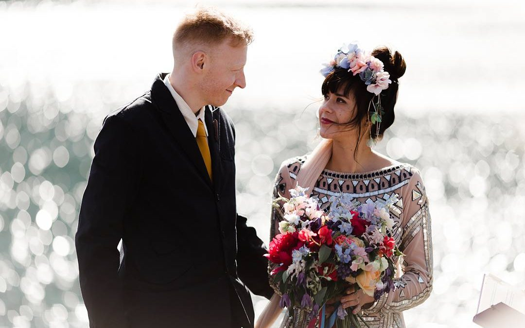 Eccentric and Bold | Ann-Marie and Munky's Colourful Clifftop Scottish Ilse Wedding